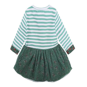 Green pinstripe deer dress (12 months - 5 years)