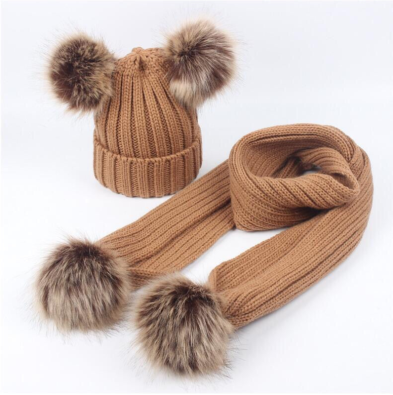 Brown faux fur pom pom hat and scarf (1-6 years)