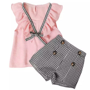 Girls dogtooth short set