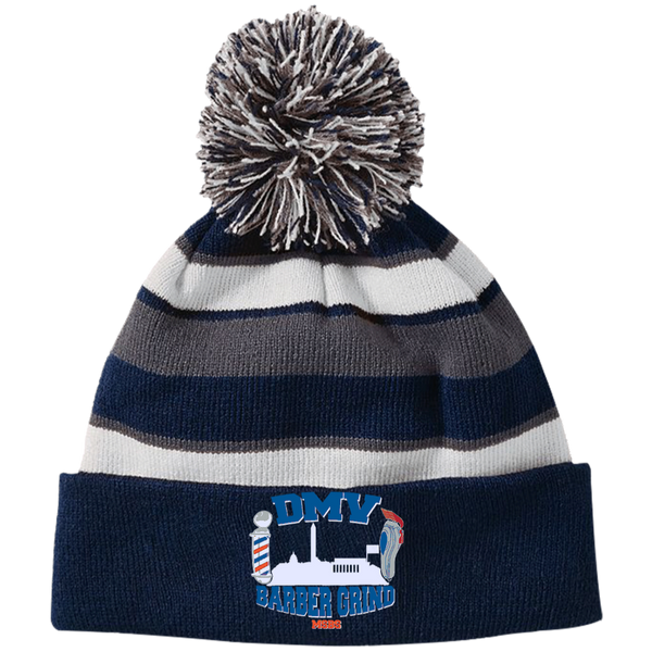Striped Beanie with Pom
