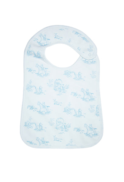 Blue Toile Baby Feeding Bib/ Pima Cotton Feeding Bib
