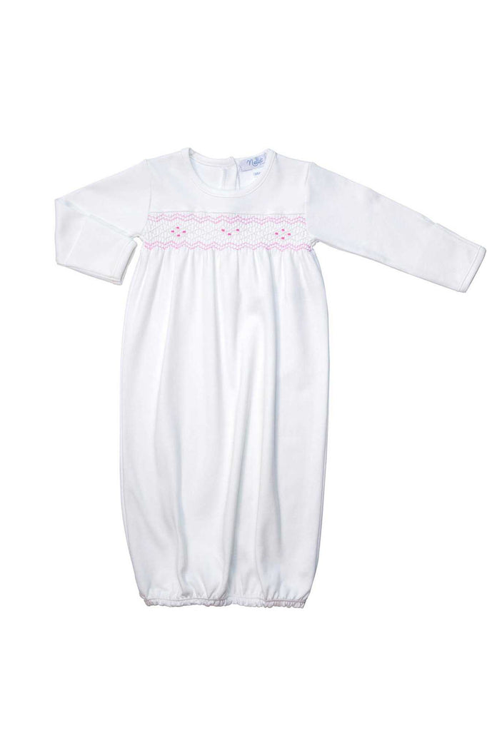 The cutest and softest baby gowns made of 100% pima cotton and hand embroidered detaild by Nella Pima