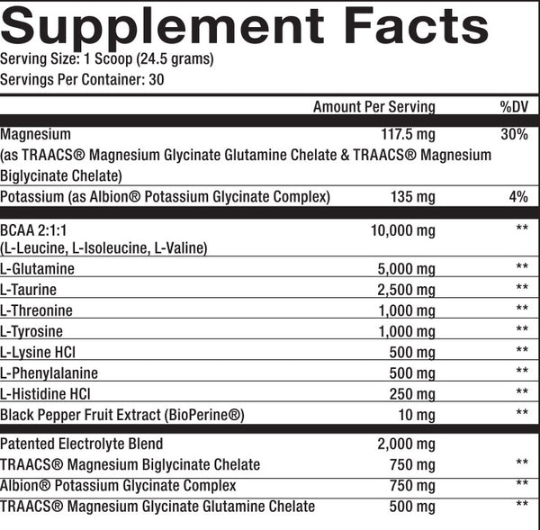 MaxQ Nutrition INTRA-Training Supplement Facts