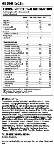 Nutritech Hulk Gainer Nutritional Facts