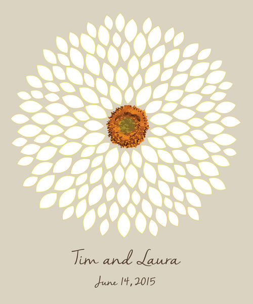 Sunflower / Dahlia Alternative Guest Book - Small Petals