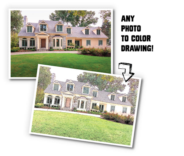 Tallahassee Realtor Closing Gift Custom B&W or Color Sketch of Home - 8x10, 11x14, 12x16 - Print Only, Matted, or Framed