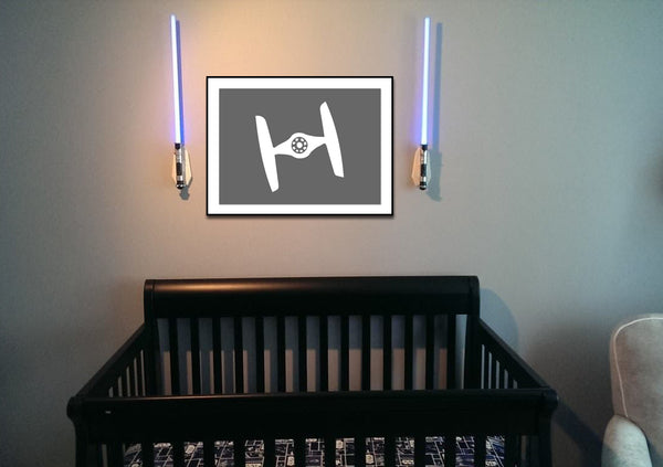Star Wars Tie Fighter Silhouette for Nursery/Boys Room - 5x7 and up