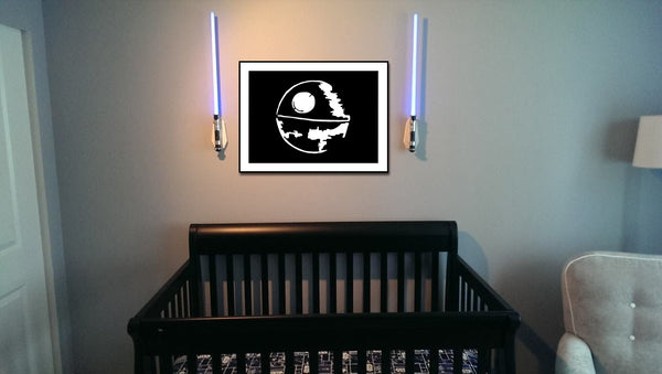 Star Wars Death Star Silhouette for Nursery/Boys Room - 5x7 and up