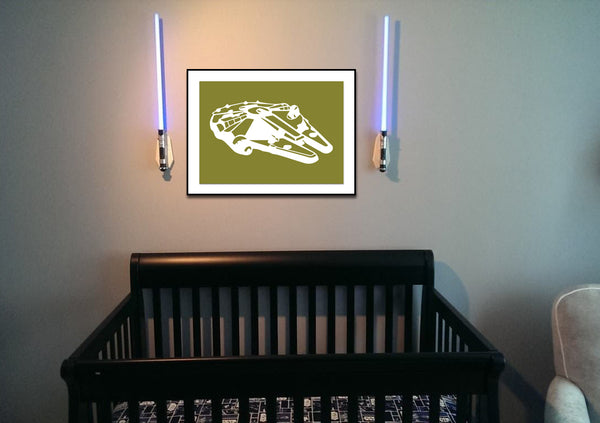 Star Wars Millennium Falcon Silhouette for Nursery/Boys Room - 5x7 and up