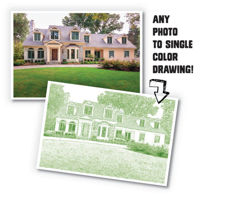 Custom Single Color Sketch of Your Home/Realtor Closing Gift/Unique New Home Gift/ Digital Drawing / Home Illustration - 8x10, 11x14, 12x16