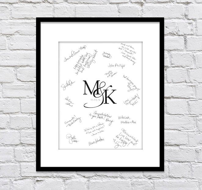 Monogram Wedding Guest Book Alternative/ Bridal Shower Guest Book/ Monogram Guest Book/ Wedding Monogram/ Wedding Poster - 16x20