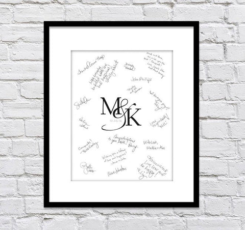 Monogram Wedding Guest Book Alternatives / Bridal Shower Guest Book/ Monogram Guest Book/ Wedding Monogram/ Wedding Poster - 20x24