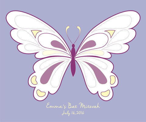 Butterfly Bat Mitzvah Guest Book Alternative/ Butterfly Guest Book/ Bat Mitzvah Party/ Personalized Party Poster-20x24- 80-100 Signatures