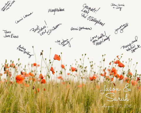 Poppy Field Wedding Guestbook Alternative/ Bridal Shower Guestbook/Flower Guest Book/Personalized Wedding Poster-20x24- up to 200 Signatures