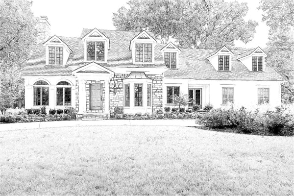 Custom B&W Sketch of Your Home/Realtor Closing Gift/New Home Gift/Digital Drawing of Home/Home Illustration /Housewarming Gift - 8x10+