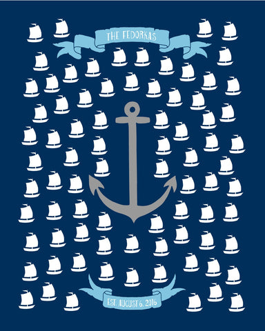 Nautical Wedding Guest Book Alternative Poster/Sailor Guest Book/Anchors Away/Personalized Wedding Guest Book -16x20 -80 Sig