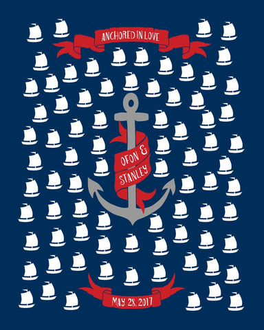 Anchored in Love /Nautical Wedding Guest Book Alternative Poster/Sailor Guest Book/Anchors Away/Personalized Wedding -16x20 -80 Sig