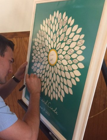 Wedding Guest Book Alternatives /Bridal Shower Guestbook/ Flower Guest Book/ Sunflower/Dahlia/Wedding Poster-20x24-150 Signatures