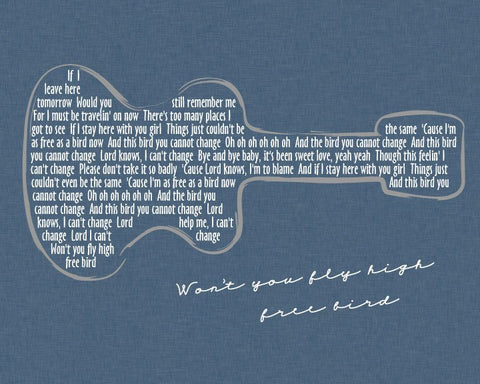 Lynyrd Skynyrd Free Bird Lyrics / Guitar/ Sky Linen background/ Retro Guitar art - 8x10, 11x14, 12x16, 16x20 & 20x24