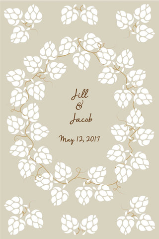 Hops Wedding Guest Book Alternatives Poster/ Bridal Shower Guestbook/Craft Beer Hops Guest Book/Wedding Poster-20x30- up to 245 Signatures