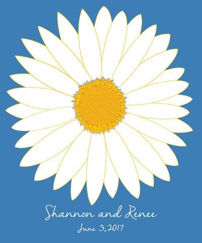 Daisy Guest Book Alternatives/ Bridal Shower Guest Book/Flower Guest Book/Personalized Wedding Poster-20x24-Approx. 80 Signatures