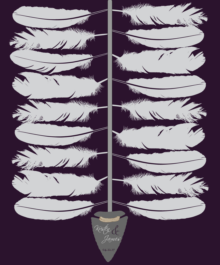 Spear and Feathers Wedding Guest Book Alternative /Bridal Shower /Arrowhead Spear and Feathers/ Wedding Poster-20x24- Approx. 80 Signatures