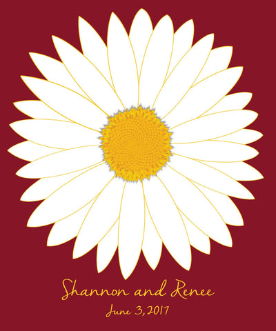 White Daisy Guest Book Alternative/ Bridal Shower Guest Book/Flower Guest Book/Personalized Wedding Poster-20x24-Approx. 80 Signatures