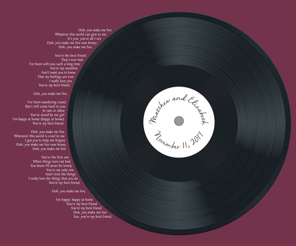Realistic Record Wedding Song Guest Book Alternatives / YOUR Lyrics /First Dance Lyrics / Couples Shower Guestbook/Record Guest Book -20x24