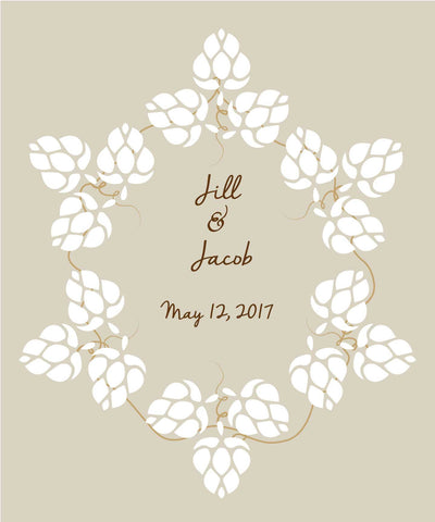 Hops Wedding Guest Book Alternatives / Poster/ Bridal Shower Guestbook/Craft Beer Hops Guest Book/Wedding Poster-20x24- up to 90 Signatures