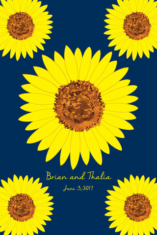 Sunflower / Wedding Guest Book Alternatives /Bridal Shower Guest Book/Flower Guest Book/Personalized Wedding Poster-24x36-Approx. 180 Sig