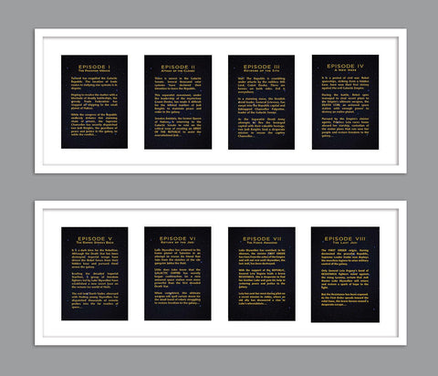 All 8 Star Wars Movies - Each Episode Opening Crawl Text for Nursery/Boys Nursery/Star Wars Nursery -  Set of 8  - 5x7s