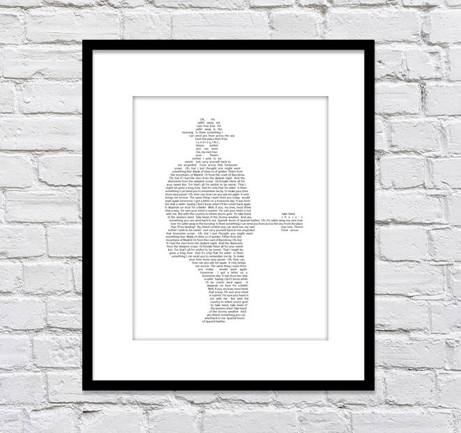 Bob Dylan Silhouette with Boots of Spanish Leather Lyrics/ Black & White / You Can Choose the Bob Dylan Song/Music Art/Man Cave Art - 8x10 +