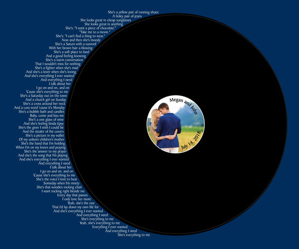 Your Lyrics Your Photo Record Wedding Song Guest Book Alternative/Wedding Vows/ Couples Shower Guestbook/Record Guest Book Print - 20x24