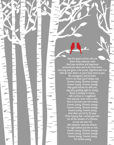 Rod Stewart Forever Young Lyrics/Birch Trees/ Birch tree with birds/ Anniversary Gift Wedding Gift /- 8x10, 11x14, 12x16, 16x20, 20x24