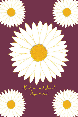 Daisy / Wedding Guest Book Alternatives /Bridal Shower Guest Book/Flower Guest Book/Personalized Wedding Poster-24x36-Approx. 180 Sig
