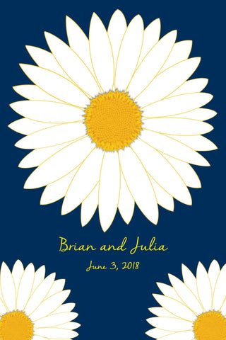 Daisy Wedding Guest Book Alternatives /Bridal Shower Guest Book/Flower Guest Book/Personalized Wedding Poster-20x30-Approx. 100-150 Sig