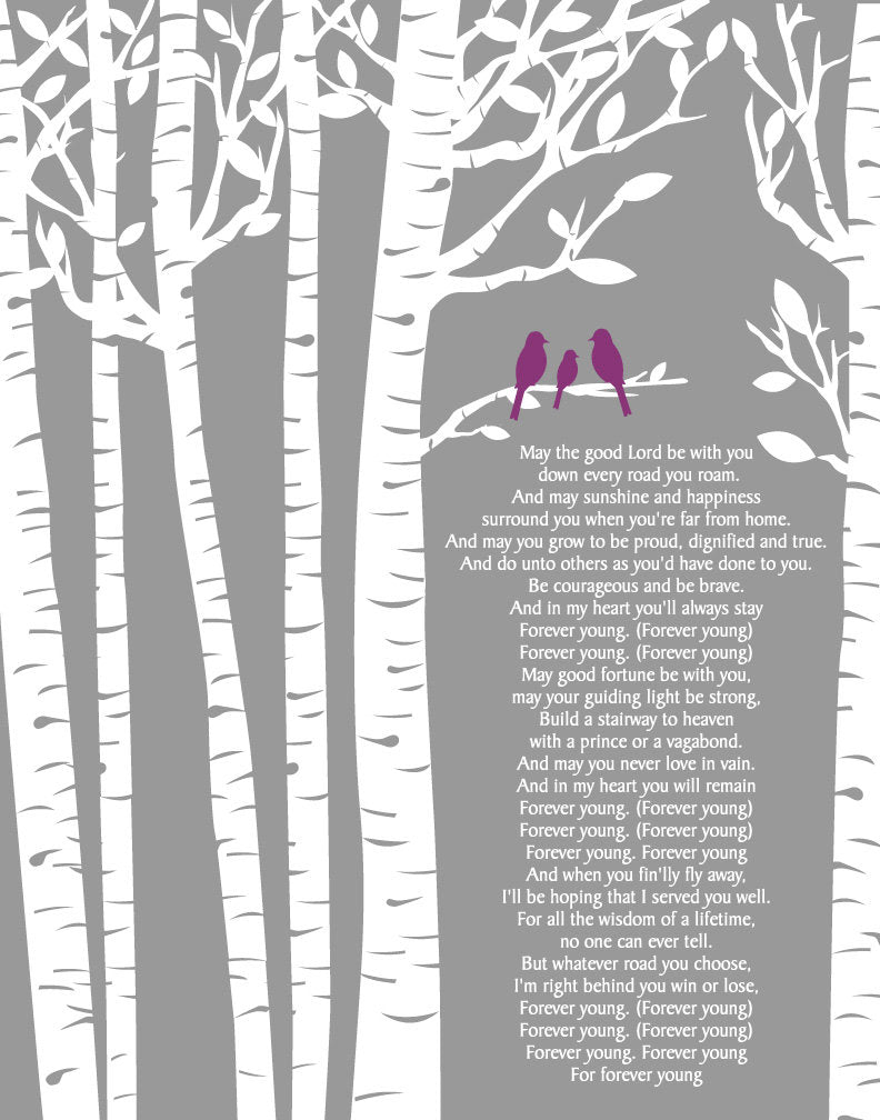 Rod Stewart Forever Young Lyrics/Birch Trees/ Birch tree with Baby bird/ Baptism Gift Baby Gift /- 8x10, 11x14, 12x16, 16x20, 20x24