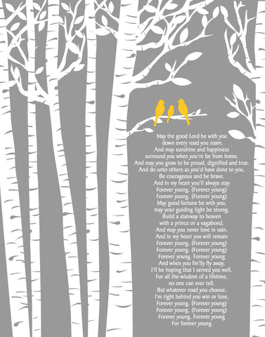 Forever Young Lyrics by Rod Stewart/Birch Trees/ Birch tree with Baby bird/ Baptism Gift Baby Gift /- 8x10, 11x14, 12x16, 16x20, 20x24