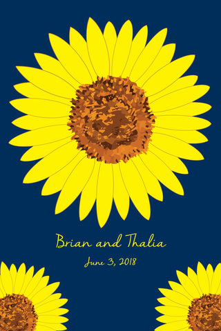 Sunflower Wedding Guest Book Alternatives /Bridal Shower Guest Book/Flower Guest Book/Personalized Wedding Poster-20x30-Approx. 100-140 Sig