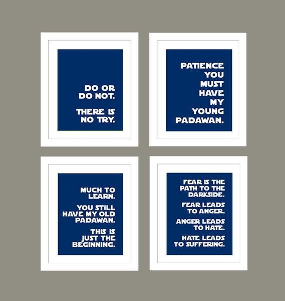 Star Wars Quotes for Nursery/Boys Nursery/Do or Do Not There is No Try -  Set of 4  - 8x10s