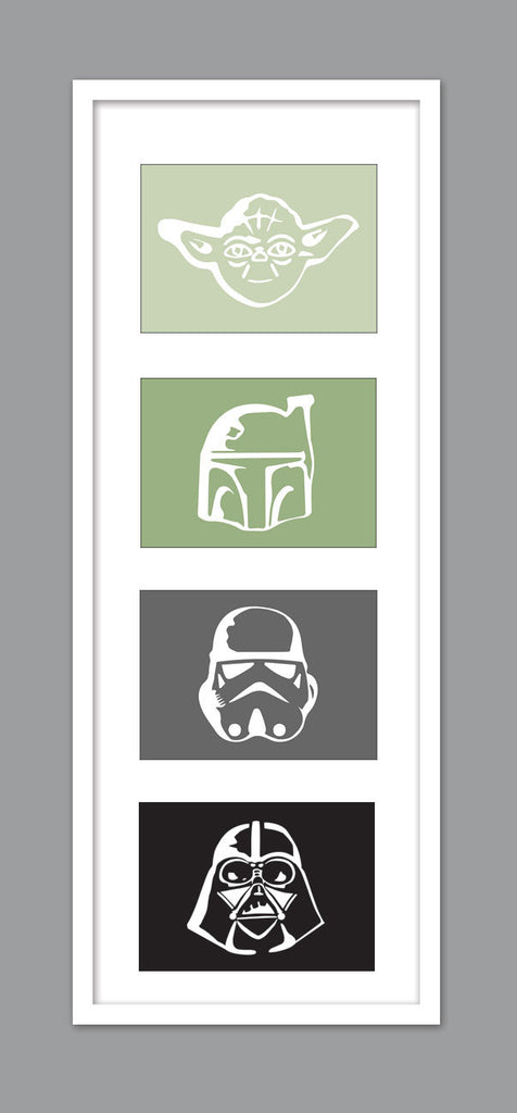 4 Star Wars Character Silhouettes for Nursery/Boys Nursery/Darth Vader/Yoda/Stormtrooper/Boba Fett -  Set of 4  - 5x7s