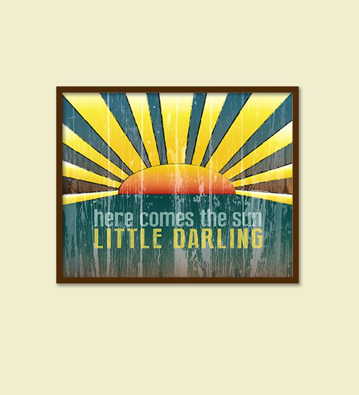 The Beatles, Here Comes the Sun/Distressed Retro Kitchen Wall Art/Horizontal/Nursery Art -  10x8, 12x9, 14x11, 16x12 & 20x16