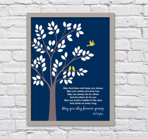 Bob Dylan Forever Young/Baptism or Dedication Print/Baby Leaving Nest/Graduation Gift/Three Birds -  8x10, 11x14, and 12x16