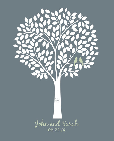 Wedding Tree Guest Book /Alternative Bridal Shower Gift/Guest Book Wedding Tree/Personalized Wedding Poster - 20x24 - 165 Signatures