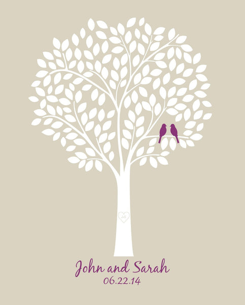 Wedding Tree Guestbook /Alternative Bridal Shower Gift/Guest Book Wedding Tree/Personalized Wedding Print - 20x24 - 165 Signatures