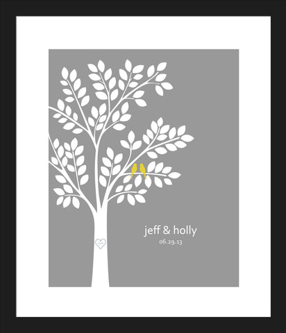 Wedding Tree Guest Book Alternative/ Bridal Shower Gift/ Guest Book Wedding Tree/ Personalized Wedding Poster - 16x20- 100 Signatures