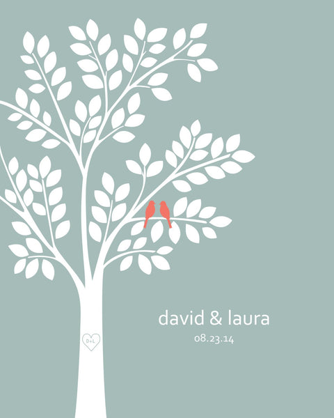 Wedding Guest Book Alternative/ Bridal Shower Gift/ Guest Book Tree/ Personalized Wedding Poster - 20x24 - 100 Signatures