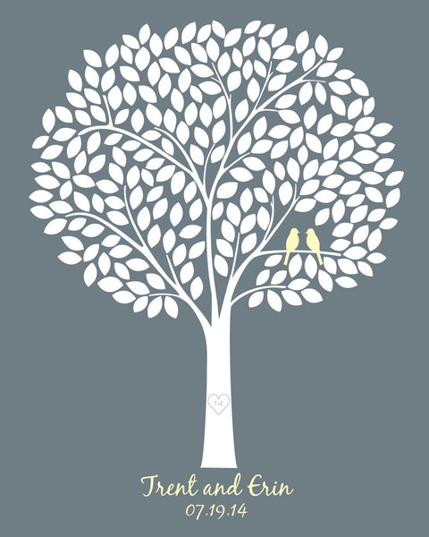 Wedding Tree Guestbook /Alternative Wedding Guest Book/ Bridal Shower Gift/Guest Book Wedding Tree/ Wedding Poster - 20x24 - 220 Signatures