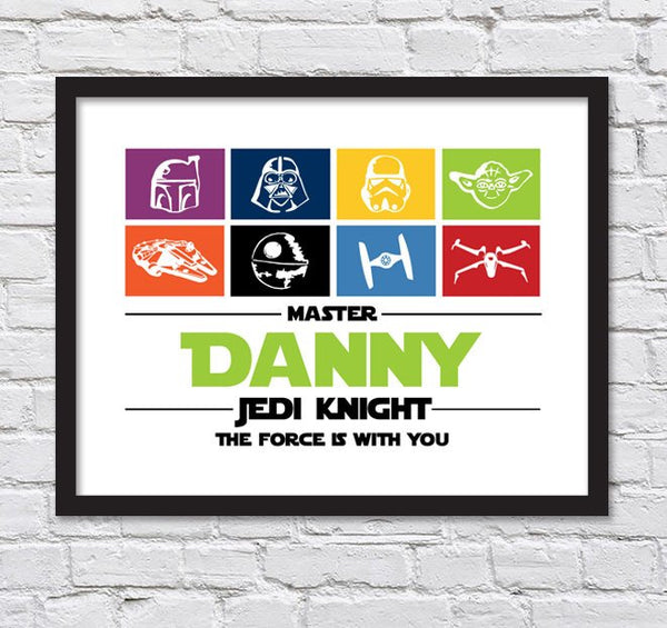 "Star Wars Silhouettes for Boys Room/ Personalized Master Jedi Knight Poster/ Star Wars Nursery / The Force is With You -11""x14"""