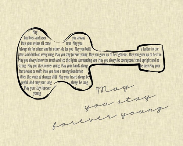Bob Dylan Forever Young Lyrics/ Guitar/ Linen background/ Forever Young Nursery/ Retro Wall Art  -  8x10,11x14, 12x16, 16x20, 20x24